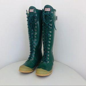 RARE Hunter Watling Lace Up Rain Boots